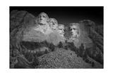 Mount Rushmore South Dakota Dawn BW Fotografie-Druck von Steve Gadomski