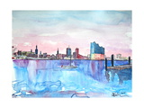 Hamburg Harbour Skyline and Elbe Philharmonic Hall Art par Markus Bleichner
