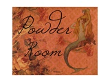 Scarlet Vintage Mermaid Powder Room Poster di sylvia pimental