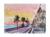 Nice France Seaview Boulevard at Sunset Affiches par Markus Bleichner