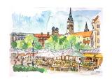 Munich Market Scene with Trees and Church Posters par Markus Bleichner