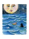 Moon Face Mermaid in The Sea Affiches par sylvia pimental
