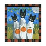 Folk Art Black Cats Halloween Lámina giclée prémium por sylvia pimental