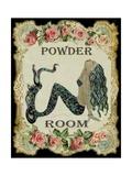 Powder Room Mermaid with Vintage Roses Posters van sylvia pimental