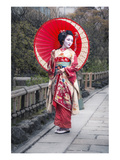Japanese Geisha in Kyoto Pósters
