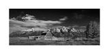T A Moulton Barn Panorama BW Fotografie-Druck von Steve Gadomski