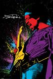 Jimi Hendrix- Neon Burst Poster