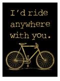 Bicycle I'd Ride Anywhere Golden Black Affiche par Amy Brinkman