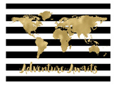 World Map Black White Stripe Adventure Awaits Affiches par Amy Brinkman
