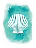 Aqua Watercolor Background Scallop Shell Plakat av  Jetty Printables