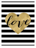 Love Heart Black White Stripe Affiches par Amy Brinkman