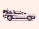 Delorean Back To The Future Kunstdrucke von Florent Bodart