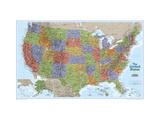 Kort over USA Kunst på metal af  National Geographic Maps