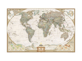 Maailman poliittinen kartta, tyylikäs Metallivedokset tekijänä  National Geographic Maps