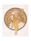 Byzantine Head of a Blond Maiden; Tete Byzantine D'Une Femme Blonde, C.1897 (Lithograph in Colours) Metalldrucke von Alphonse Mucha
