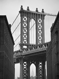 Manhattan Bridge and Empire State Building, New York City, USA Fotoprint van Alan Copson