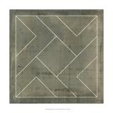 Geometric Blueprint VI Kunst op metaal