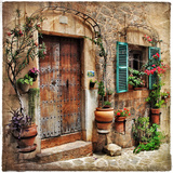 Charming Streets Of Old Mediterranean Towns Metalltrykk av  Maugli-l