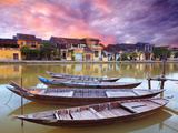 View on the Old Town of Hoi an from the River. Boats in the Foreground. Metalltrykk av  GoodOlga