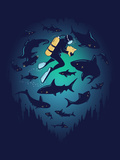 Screwed - Funny Shark and Diver Posters por  Boots