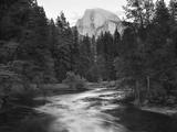 Half Dome with Sunset over Merced River, Yosemite, California, USA Opspændt lærredstryk af Tom Norring