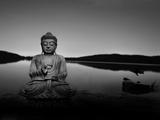 Golden Buddha Lakeside Photographic Print by Jan Lakey