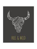 Bohemian Style Bull Skull Poster Plakater af  Marish