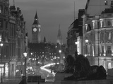 Evening View from Trafalgar Square Down Whitehall with Big Ben in the Background, London, England Fotografisk trykk av Roy Rainford