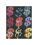 $9, 1982 (on black) Giclee-trykk av Andy Warhol