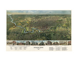 Bird's Eye Map of Houston, Texas, 1891 Plakat av  Vintage Reproduction