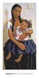 Delfina Flores and her Niece Modesta Plakater af Rivera, Diego
