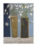 Elongated Vases with White Tulips Pósters por Karen Tusinski