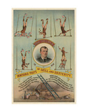 Prof.Theurer and his Inimitable Feats of Skills and Dexterity, c. 1883 Poster av  Vintage Reproduction