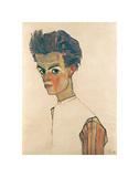 Self-Portrait with Striped Shirt Kunst af Egon Schiele