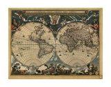 World Map 1664 Poster av  Vintage Reproduction