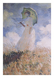 Femme au parasol Affiches par Claude Monet