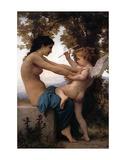 Tyttö puolustaa itseään rakkautta vastaan Julisteet tekijänä William Adolphe Bouguereau
