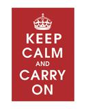 Keep Calm, fondo rosso Poster