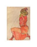 Kneeling Female in Orange-Red Dress, 1910 Plakater af Egon Schiele