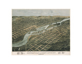 Minneapolis and Saint Anthony, Minnesota, 1867 Posters av A. Ruger