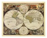 新世界地図, 17世紀 ポスター : ニコラス・フィッシャー
