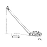"""A sign reading """"The Holidays"""" marks a scene where a man sits at the top of... - New Yorker Cartoon Reproduction giclée Premium par Christopher Weyant"""