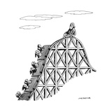 The guru sits at the peak of a roller coaster track.  - New Yorker Cartoon Reproduction giclée Premium par Joe Dator