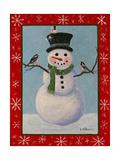 Snowman and Chickadees Affiches par Julie Peterson