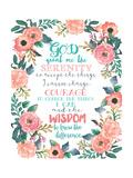 Serenity Prayer Floral Prints by Jo Moulton