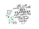 Psalm 91 4 Floral Posie Posters by Tara Moss