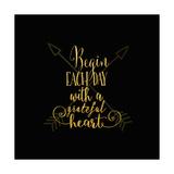 Begin Each Day Arrows Gold on Black Kunstdrucke von Tara Moss