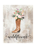 Wildflower Watercolor Boot Posters by Tara Moss