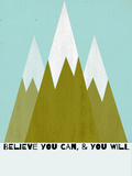 Believe You Can-Mountains - Silouhette Typography Stampa di Shanni Welch