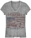 Women's: Gas Monkey- Flag Moto T-Shirt